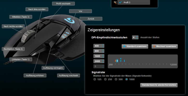 Logitech G502 Proteus Spectrum - Software