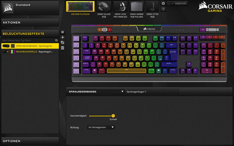 Corsair K95 RGB Platinum - Software